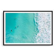 Surfers at Trigg Beach in Perth, Western Australia framed in black