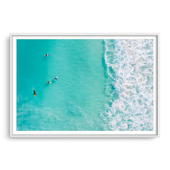 Surfers at Trigg Beach in Perth, Western Australia framed in white