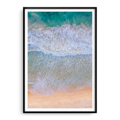 Aerial view of surfers at Trigg Beach in Perth, Western Australia framed in black