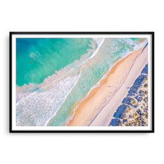 Aerial view of surf at Trigg Beach in Perth, Western Australia framed in black