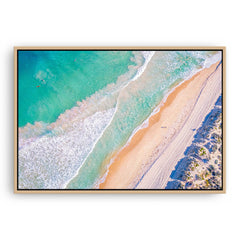 Aerial view of surf at Trigg Beach in Perth, Western Australia framed canvas in raw oak