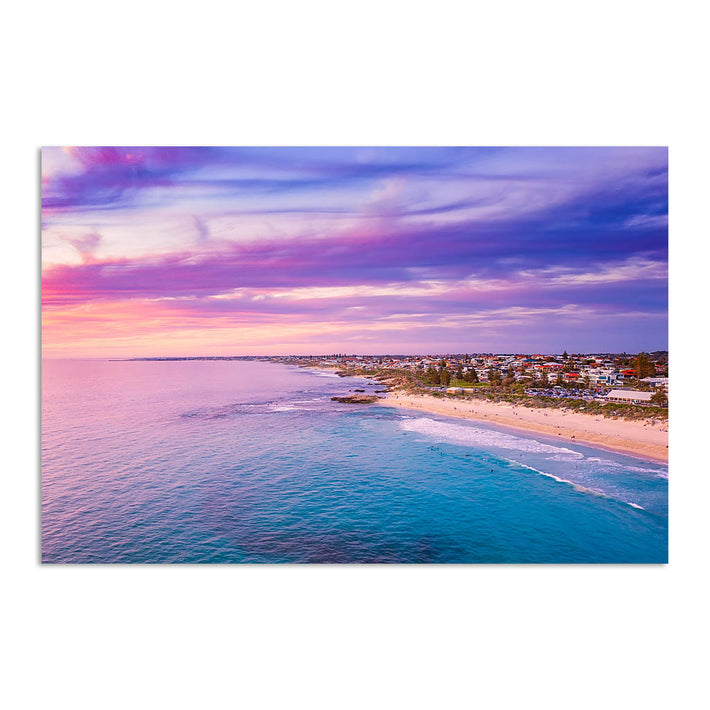 Aerial view of sunset over Trigg Beach in Perth, Western Australia