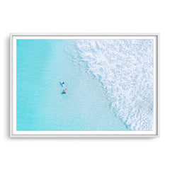 Aerial view of surfers at Trigg In Perth, Western Australia framed in white