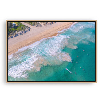 Aerial view of surfers at Trigg Beach in Perth, Western Australia