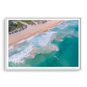 Aerial view of surfers at Trigg Beach in Perth, Western Australia framed in white