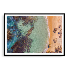 Aerial view of Perth Beach in Western Australia framed in black