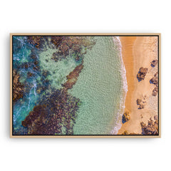 Aerial view of Perth Beach in Western Australia framed canvas in raw oak