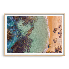 Aerial view of Perth Beach in Western Australia framed in raw oak