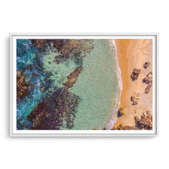 Aerial view of Perth Beach in Western Australia framed in white
