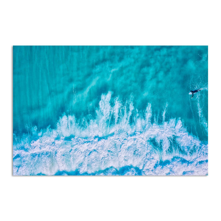 Aerial view of surfer at Trigg in Perth, Western Australia