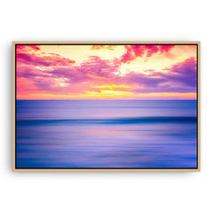 Sunset over Bennion Beach in Perth, Western Australia framed canvas in raw oak