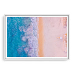 Aerial view of Sorrento Beach in Perth, Western Australia framed in white