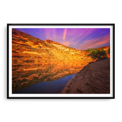 Sunset in Kalbarri National Park in Western Australia framed in black