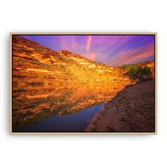 Sunset in Kalbarri National Park in Western Australia framed canvas in raw oak