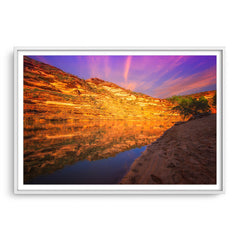 Sunset in Kalbarri National Park in Western Australia framed in white
