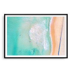 Aerial view of Trigg Beach in Perth, Western Australia framed in black