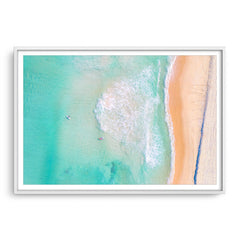 Aerial view of Trigg Beach in Perth, Western Australia framed in white