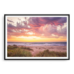 Sunset at North Beach in Perth, Western Australia framed in black