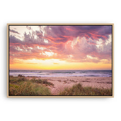 Sunset at North Beach in Perth, Western Australia framed canvas in raw oak