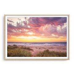 Sunset at North Beach in Perth, Western Australia framed in raw oak