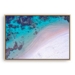 Aerial view of Mettams Beach in Perth, Western Australia framed canvas in raw oak