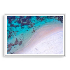 Aerial view of Mettams Beach in Perth, Western Australia framed in white