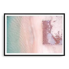 Aerial view of Port Gregory Jetty in Western Australia framed in black