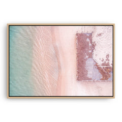 Aerial view of Port Gregory Jetty in Western Australia framed canvas in raw oak