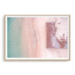 Aerial view of Port Gregory Jetty in Western Australia framed in raw oak