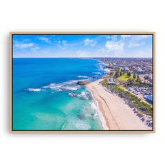 Aerial view of Trigg Beach in Perth, Western Australia framed canvas in raw oak