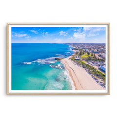 Aerial view of Trigg Beach in Perth, Western Australia framed in raw oak