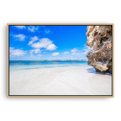 Sandy Cape on the Coral Coast of Western Australia framed canvas in raw oak