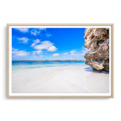 Sandy Cape on the Coral Coast of Western Australia framed in raw oak