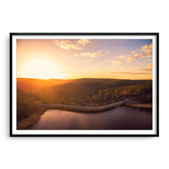 Sunset over Collie Dam in Western Australia framed in black