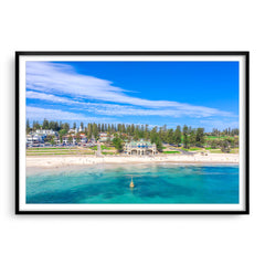 Aerial view of Cottesloe Beach in Perth, Western Australia framed in black