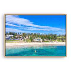 Aerial view of Cottesloe Beach in Perth, Western Australia framed canvas in raw oak