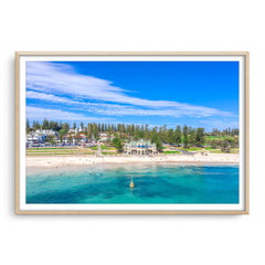 Aerial view of Cottesloe Beach in Perth, Western Australia framed in raw oak