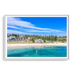Aerial view of Cottesloe Beach in Perth, Western Australia framed in white