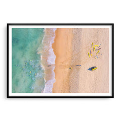Aerial view of swimmers at Trigg Beach in Perth, Western Australia framed in black
