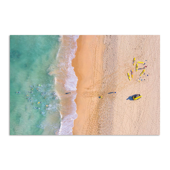 Aerial view of swimmers at Trigg Beach in Perth, Western Australia