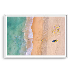Aerial view of swimmers at Trigg Beach in Perth, Western Australia framed in white