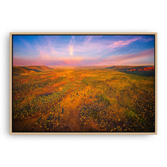 Aerial view of the Kimberley in Western Australia framed canvas in raw oak