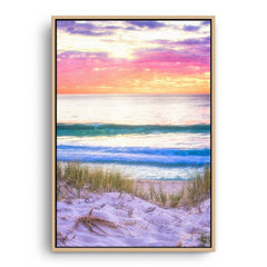 Simple sunset through the dunes in Perth, Western Australia framed canvas in raw oak