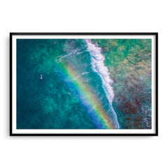 Rainbow wave in Perth, Western Australia framed in black
