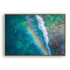 Rainbow wave in Perth, Western Australia framed canvas in raw oak