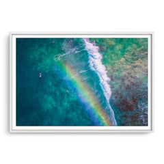 Rainbow wave in Perth, Western Australia framed in white