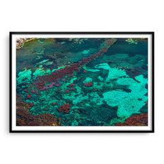 Aerial view of Rottnest Island in Western Australia framed in black