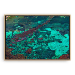 Aerial view of Rottnest Island in Western Australia framed canvas in raw oak