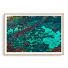 Aerial view of Rottnest Island in Western Australia framed in raw oak