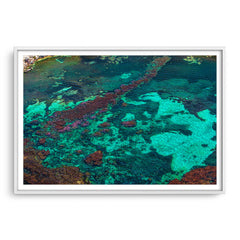 Aerial view of Rottnest Island in Western Australia framed in white